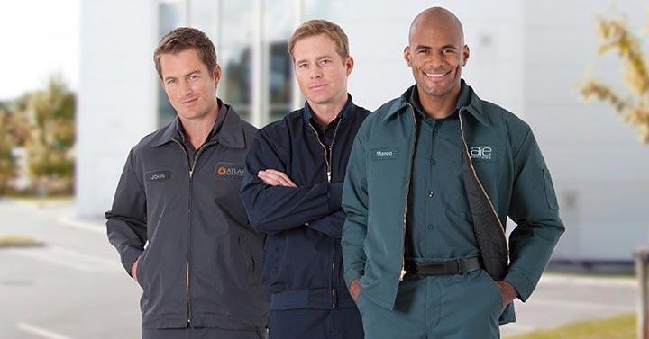men wearing outdoor workwear jackets